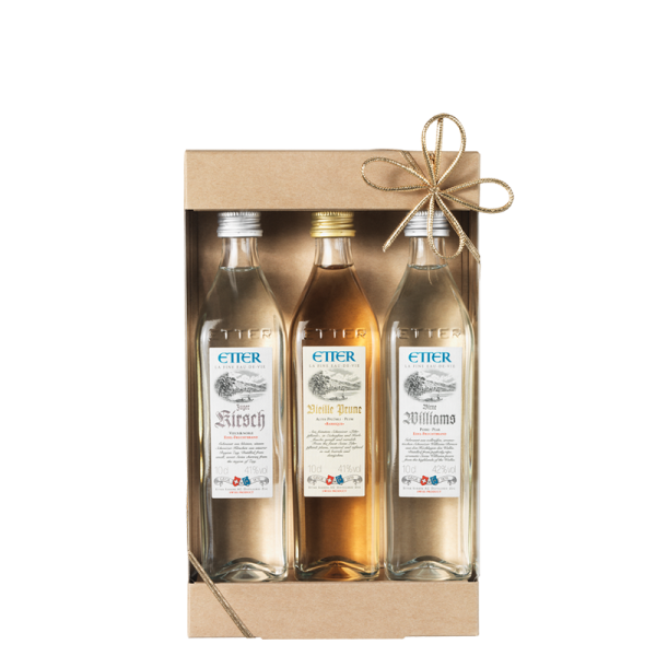 Gift package 3x10cl Etter Zuger Kirsch AOP, Vieille Plum, Pear Williams 30cl, 41.3% vol