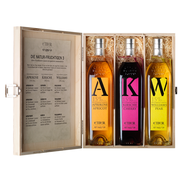 Wooden gift box 3x35cl - the natural fruity one 3. 105cl, 15% vol