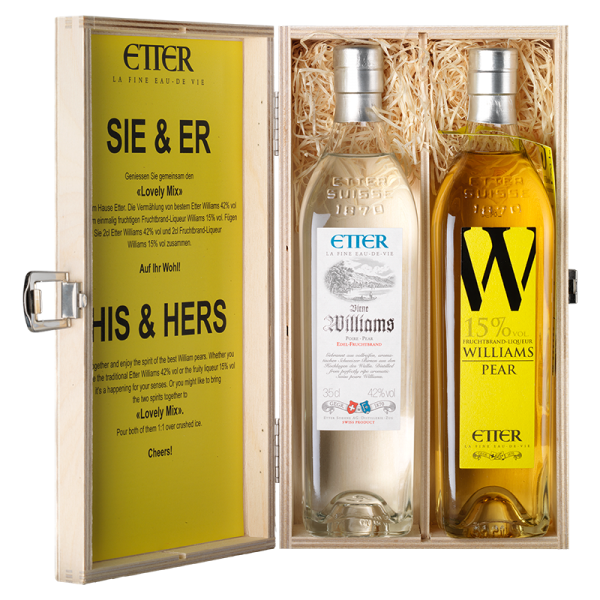 Wooden gift box 2x35cl HIS & HER Etter Pear Williams 70cl, 28.5% vol