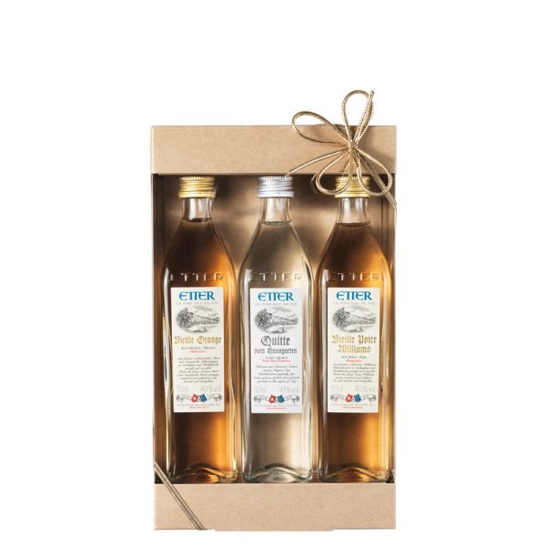 Geschenkpackung 3x10cl Etter Vieille Orange, Quitte, Vieille Poire Williams 30cl, 40.3% Vol.